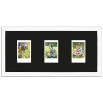Bilderrahmen für 3 Sofortbilder - Typ Instax Mini 35,4x15,7 cm | Weiß, gemasert | Normalglas