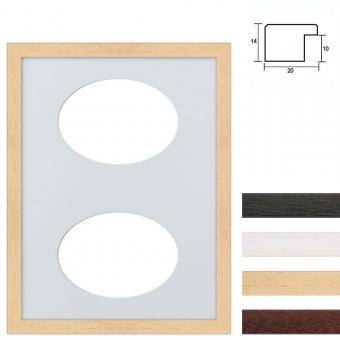2er Galerierahmen aus Holz in 30x40 cm Ovalausschnitt
