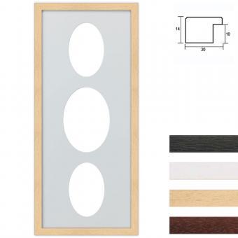 3er Galerierahmen aus Holz in 25x60 cm Ovalausschnitt