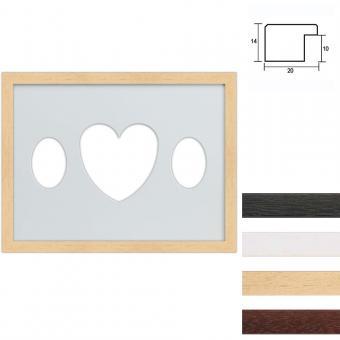 3er Galerierahmen aus Holz in 30x40 cm Ovalausschnitt mit Herz