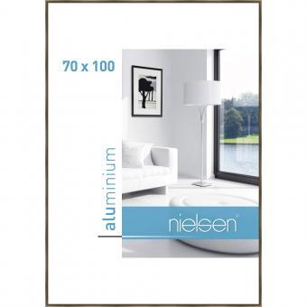Alurahmen Classic 70x100 cm | Strukturiert Walnuss | Normalglas