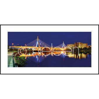 """Gerahmtes Bild """"Bridge at Night"""" mit Alurahmen C2"""