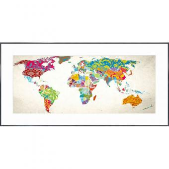 """Gerahmtes Bild """"World Map"""" mit Alurahmen Alpha"""