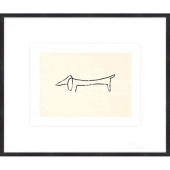 """Gerahmtes Bild """"Le chien Picasso"""" mit Holzrahmen Quadrum"""