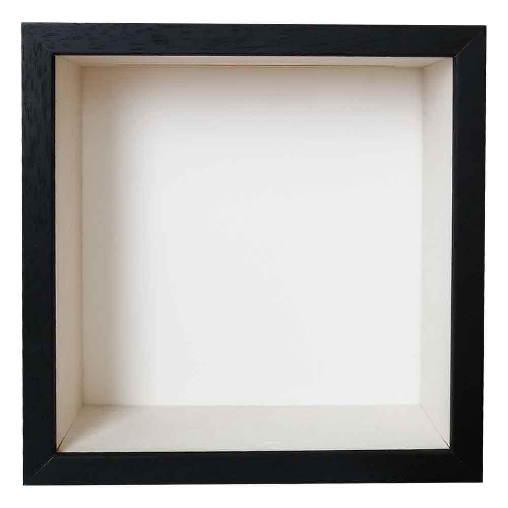 Spardosenrahmen 20x20 cm   Schwarz mit weißer Box   Normalglas