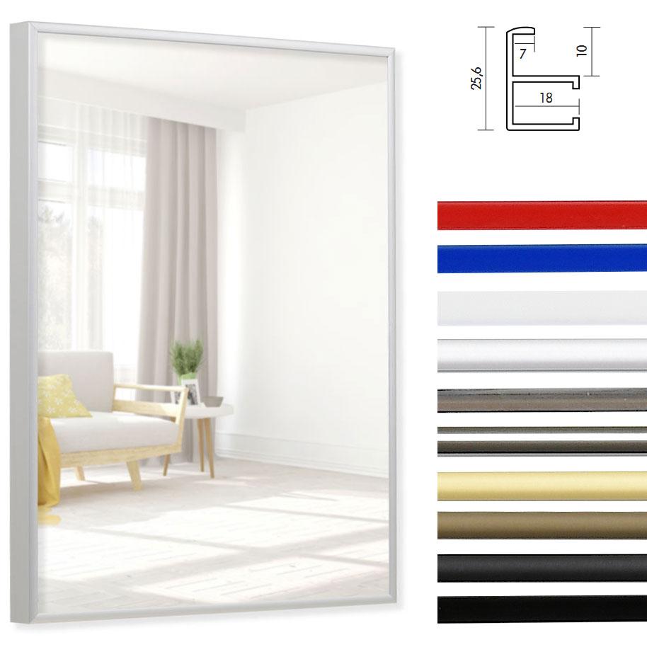 Alu spiegelrahmen quadro 18x24 silber matt for Spiegel 70x80